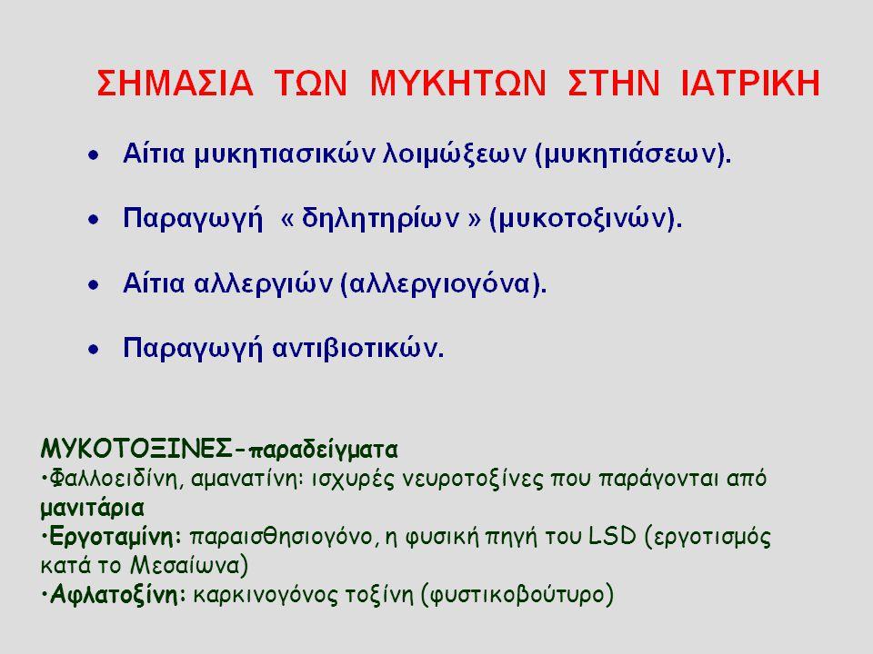 ΜΥΚΟΤΟΞΙΝΕΣ-παραδείγματα Φαλλοειδίνη, αμανατίνη: ισχυρές νευροτοξίνες που παράγονται από μανιτάρια Εργοταμίνη: παραισθησιογόνο, η φυσική πηγή του LSD