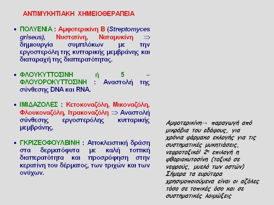 Αμφοτερικίνη → παραγωγή από μικρόβια του εδάφους, για χρόνια φάρμακο εκλογής για τις συστηματικές μυκητιάσεις, νεφροτοξικό! 2 η επιλογή η φθοριοκυτοσί