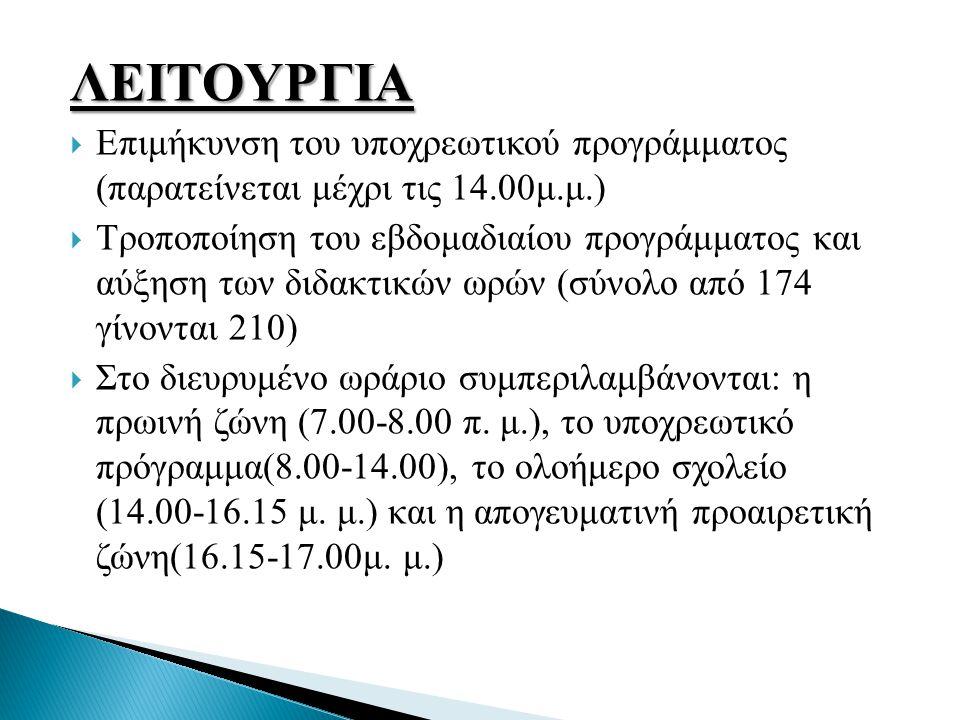 ΛΕΙΤΟΥΡΓΙΑ  Επιμήκυνση του υποχρεωτικού προγράμματος (παρατείνεται μέχρι τις 14.00μ.μ.)  Τροποποίηση του εβδομαδιαίου προγράμματος και αύξηση των διδακτικών ωρών (σύνολο από 174 γίνονται 210)  Στο διευρυμένο ωράριο συμπεριλαμβάνονται: η πρωινή ζώνη (7.00-8.00 π.