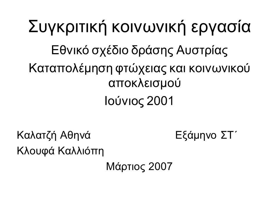 Συγκριτική κοινωνική εργασία Εθνικό σχέδιο δράσης Αυστρίας Καταπολέμηση φτώχειας και κοινωνικού αποκλεισμού Ιούνιος 2001 Καλατζή Αθηνά Εξάμηνο ΣΤ΄ Κλουφά Καλλιόπη Μάρτιος 2007