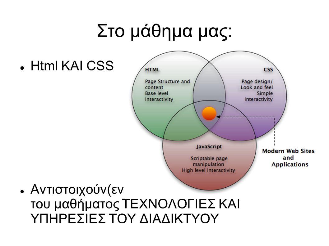 Στο μάθημα μας: Html ΚΑΙ CSS Αντιστοιχούν(εν μέρει) στο πρακτικό κομμάτι του μαθήματος ΤΕΧΝΟΛΟΓΙΕΣ ΚΑΙ ΥΠΗΡΕΣΙΕΣ ΤΟΥ ΔΙΑΔΙΚΤΥΟΥ