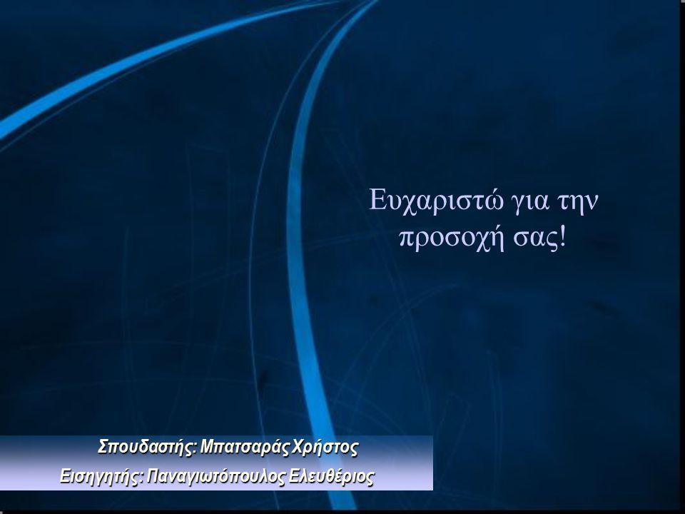 Ευχαριστώ για την προσοχή σας! Σπουδαστής: Μπατσαράς Χρήστος Εισηγητής: Παναγιωτόπουλος Ελευθέριος