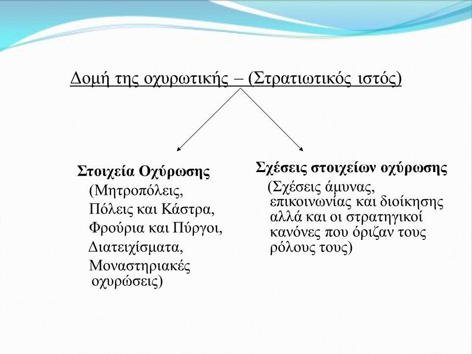 Δομή της οχυρωτικής – (Στρατιωτικός ιστός) Στοιχεία Οχύρωσης (Μητροπόλεις, Πόλεις και Κάστρα, Φρούρια και Πύργοι, Διατειχίσματα, Μοναστηριακές οχυρώσεις) Σχέσεις στοιχείων οχύρωσης (Σχέσεις άμυνας, επικοινωνίας και διοίκησης αλλά και οι στρατηγικοί κανόνες που όριζαν τους ρόλους τους)