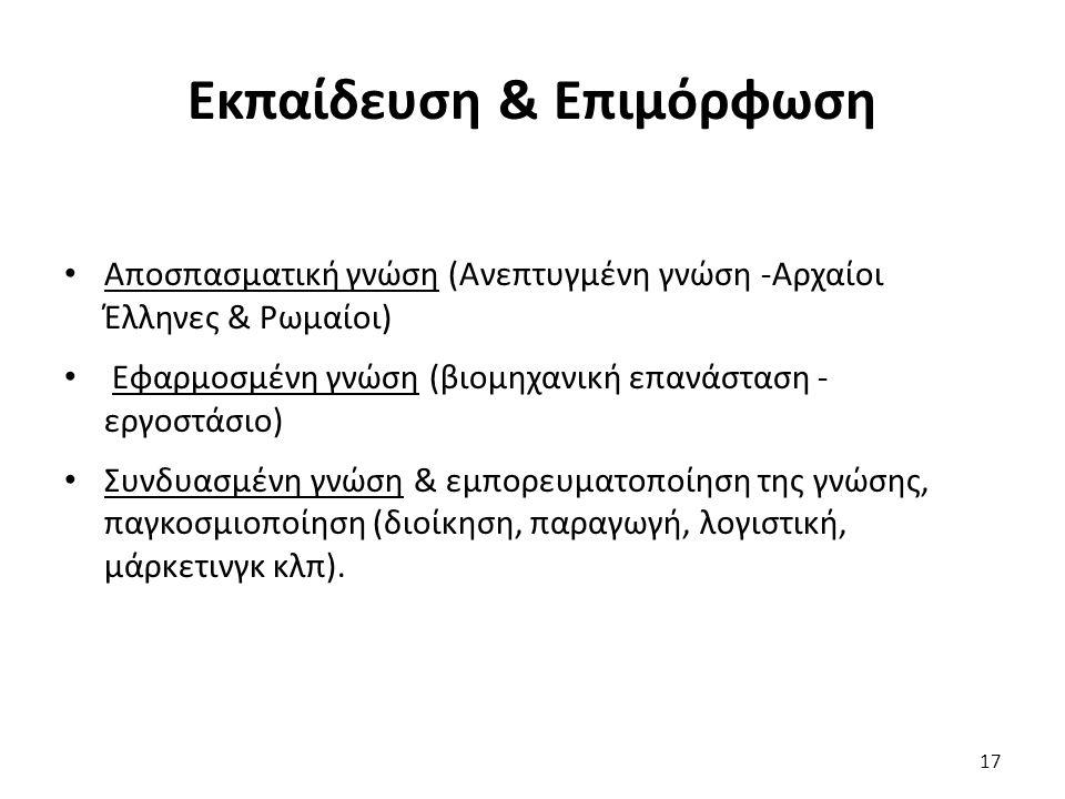 Αποσπασματική γνώση (Ανεπτυγμένη γνώση -Αρχαίοι Έλληνες & Ρωμαίοι) Εφαρμοσμένη γνώση (βιομηχανική επανάσταση - εργοστάσιο) Συνδυασμένη γνώση & εμπορευματοποίηση της γνώσης, παγκοσμιοποίηση (διοίκηση, παραγωγή, λογιστική, μάρκετινγκ κλπ).