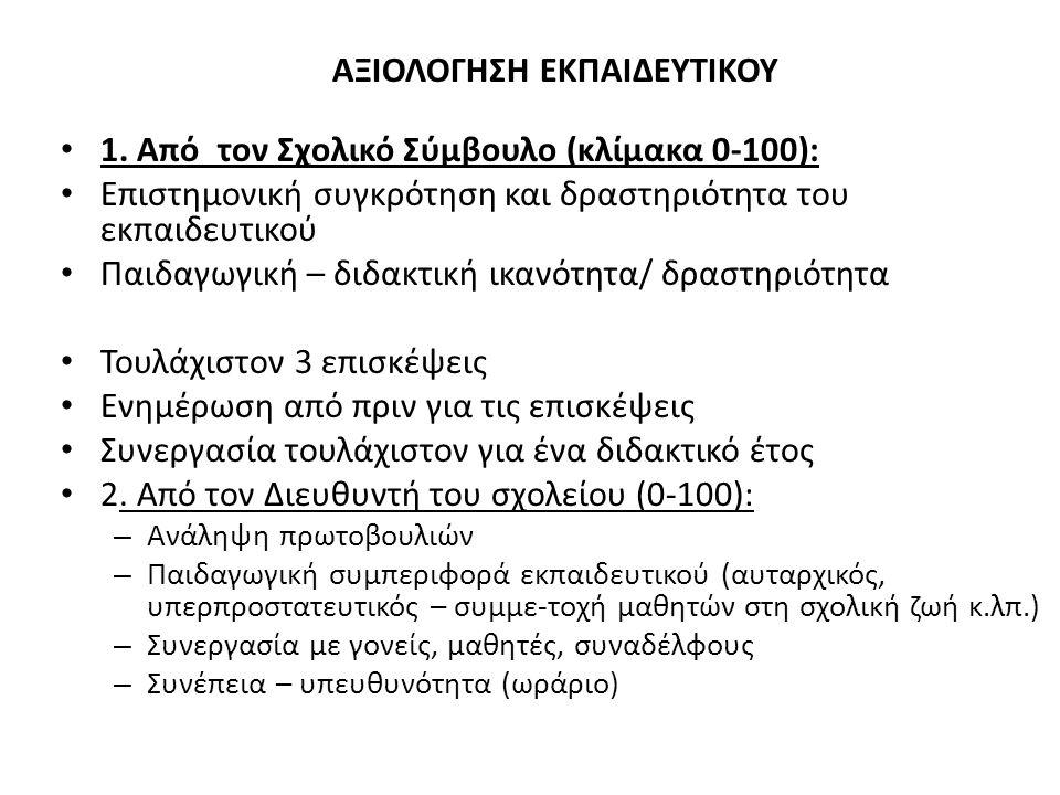 ΑΞΙΟΛΟΓΗΣΗ ΕΚΠΑΙΔΕΥΤΙΚΟΥ 1.