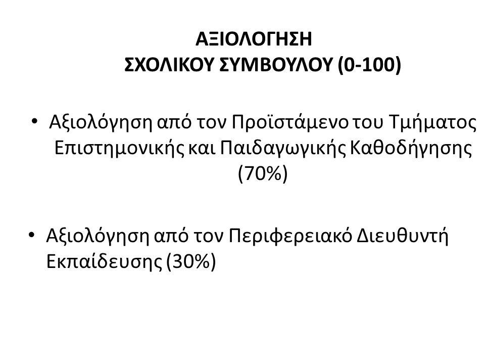 ΑΞΙΟΛΟΓΗΣΗ ΣΧΟΛΙΚΟΥ ΣΥΜΒΟΥΛΟΥ (0-100) Αξιολόγηση από τον Προϊστάμενο του Τμήματος Επιστημονικής και Παιδαγωγικής Καθοδήγησης (70%) Αξιολόγηση από τον Περιφερειακό Διευθυντή Εκπαίδευσης (30%)