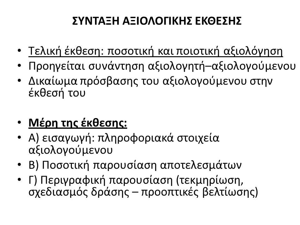 ΣΥΝΤΑΞΗ ΑΞΙΟΛΟΓΙΚΗΣ ΕΚΘΕΣΗΣ Τελική έκθεση: ποσοτική και ποιοτική αξιολόγηση Προηγείται συνάντηση αξιολογητή–αξιολογούμενου Δικαίωμα πρόσβασης του αξιολογούμενου στην έκθεσή του Μέρη της έκθεσης: Α) εισαγωγή: πληροφοριακά στοιχεία αξιολογούμενου Β) Ποσοτική παρουσίαση αποτελεσμάτων Γ) Περιγραφική παρουσίαση (τεκμηρίωση, σχεδιασμός δράσης – προοπτικές βελτίωσης)