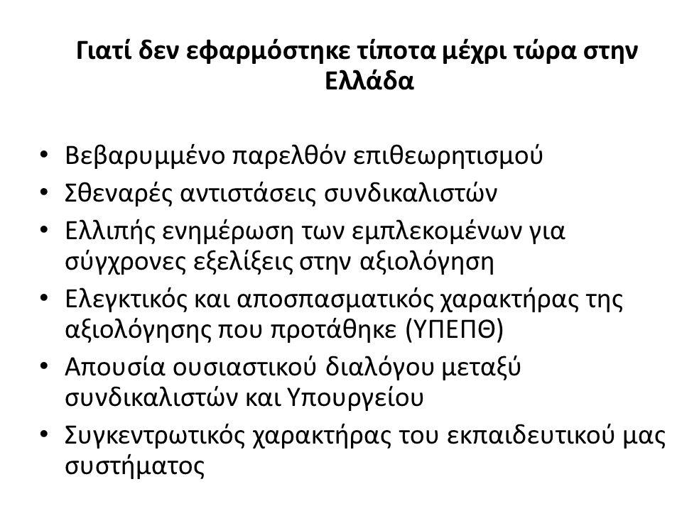 Γιατί δεν εφαρμόστηκε τίποτα μέχρι τώρα στην Ελλάδα Βεβαρυμμένο παρελθόν επιθεωρητισμού Σθεναρές αντιστάσεις συνδικαλιστών Ελλιπής ενημέρωση των εμπλεκομένων για σύγχρονες εξελίξεις στην αξιολόγηση Ελεγκτικός και αποσπασματικός χαρακτήρας της αξιολόγησης που προτάθηκε (ΥΠΕΠΘ) Απουσία ουσιαστικού διαλόγου μεταξύ συνδικαλιστών και Υπουργείου Συγκεντρωτικός χαρακτήρας του εκπαιδευτικού μας συστήματος