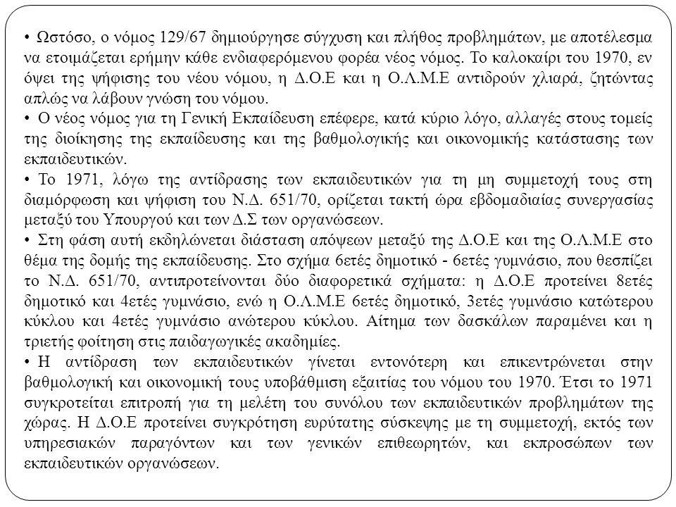 Ωστόσο, ο νόμος 129/67 δημιούργησε σύγχυση και πλήθος προβλημάτων, με αποτέλεσμα να ετοιμάζεται ερήμην κάθε ενδιαφερόμενου φορέα νέος νόμος. Το καλοκα