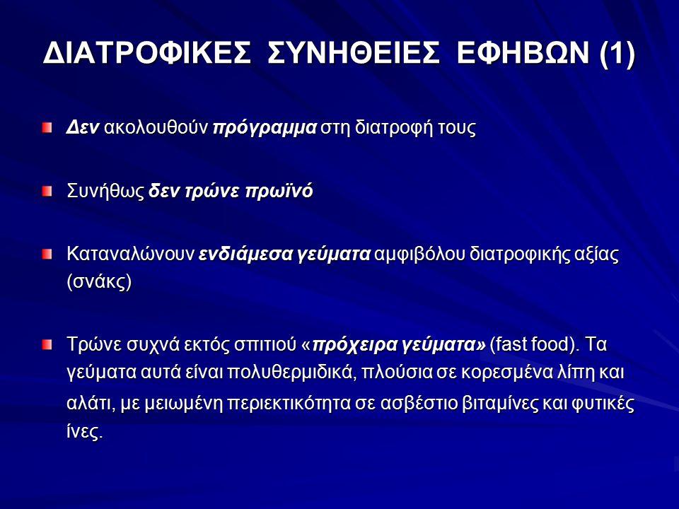 ΔΙΑΤΡΟΦΙΚΕΣ ΣΥΝΗΘΕΙΕΣ ΕΦΗΒΩΝ (1) Δεν ακολουθούν πρόγραμμα στη διατροφή τους Συνήθως δεν τρώνε πρωϊνό Καταναλώνουν ενδιάμεσα γεύματα αμφιβόλου διατροφι