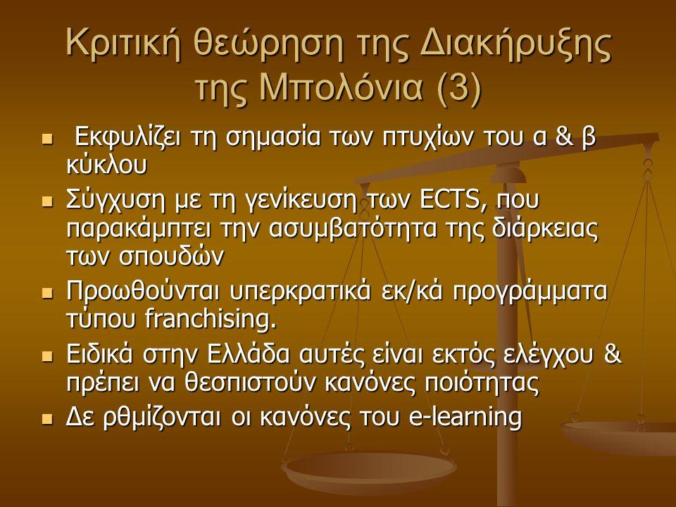 Κριτική θεώρηση της Διακήρυξης της Μπολόνια (3) Εκφυλίζει τη σημασία των πτυχίων του α & β κύκλου Εκφυλίζει τη σημασία των πτυχίων του α & β κύκλου Σύγχυση με τη γενίκευση των ECTS, που παρακάμπτει την ασυμβατότητα της διάρκειας των σπουδών Σύγχυση με τη γενίκευση των ECTS, που παρακάμπτει την ασυμβατότητα της διάρκειας των σπουδών Προωθούνται υπερκρατικά εκ/κά προγράμματα τύπου franchising.