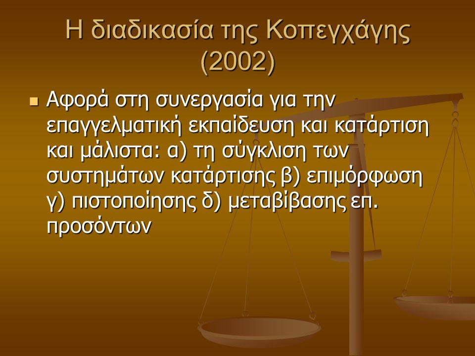 Η διαδικασία της Κοπεγχάγης (2002) Αφορά στη συνεργασία για την επαγγελματική εκπαίδευση και κατάρτιση και μάλιστα: α) τη σύγκλιση των συστημάτων κατάρτισης β) επιμόρφωση γ) πιστοποίησης δ) μεταβίβασης επ.