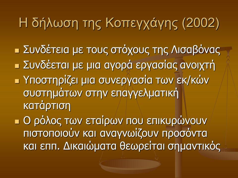 Η δήλωση της Κοπεγχάγης (2002) Συνδέτεια με τους στόχους της Λισαβόνας Συνδέτεια με τους στόχους της Λισαβόνας Συνδέεται με μια αγορά εργασίας ανοιχτή Συνδέεται με μια αγορά εργασίας ανοιχτή Υποστηρίζει μια συνεργασία των εκ/κών συστημάτων στην επαγγελματική κατάρτιση Υποστηρίζει μια συνεργασία των εκ/κών συστημάτων στην επαγγελματική κατάρτιση Ο ρόλος των εταίρων που επικυρώνουν πιστοποιούν και αναγνωίζουν προσόντα και εππ.