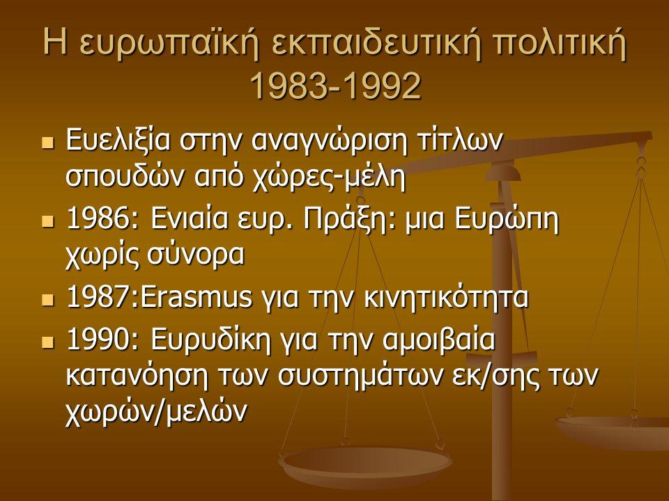 Η ευρωπαϊκή εκπαιδευτική πολιτική 1983-1992 Ευελιξία στην αναγνώριση τίτλων σπουδών από χώρες-μέλη Ευελιξία στην αναγνώριση τίτλων σπουδών από χώρες-μέλη 1986: Ενιαία ευρ.