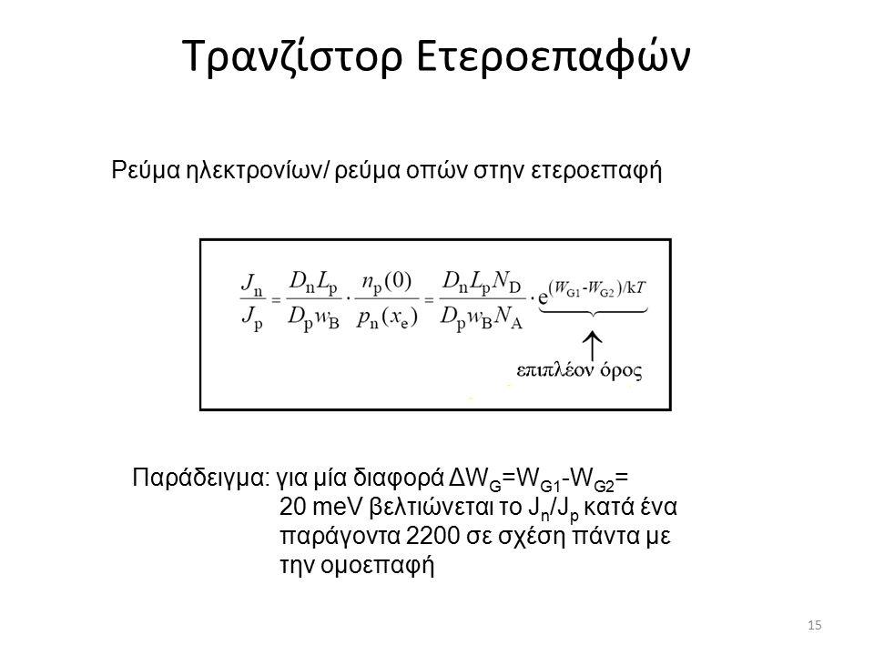 Τρανζίστορ Ετεροεπαφών Ρεύμα ηλεκτρονίων/ ρεύμα οπών στην ετεροεπαφή Παράδειγμα: για μία διαφορά ΔW G =W G1 -W G2 = 20 meV βελτιώνεται το J n /J p κατ