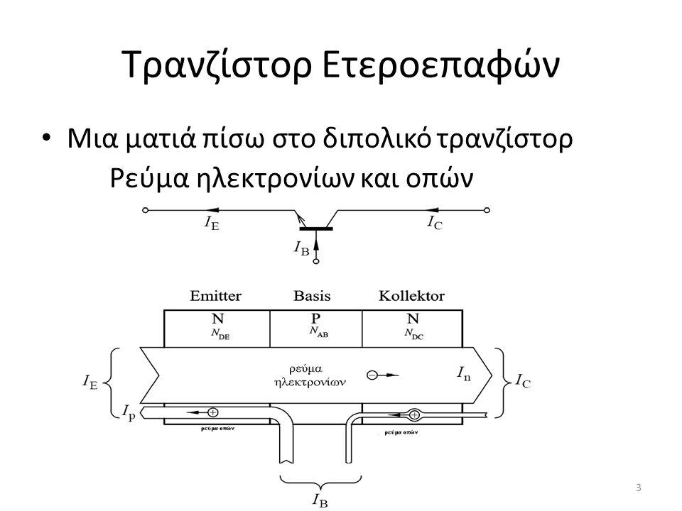 Τρανζίστορ Ετεροεπαφών Μια ματιά πίσω στο διπολικό τρανζίστορ Ρεύμα ηλεκτρονίων και οπών 3