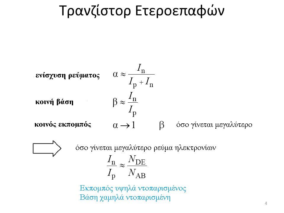 Τρανζίστορ Ετεροεπαφών Ρεύμα ηλεκτρονίων/ ρεύμα οπών στην ετεροεπαφή Παράδειγμα: για μία διαφορά ΔW G =W G1 -W G2 = 20 meV βελτιώνεται το J n /J p κατά ένα παράγοντα 2200 σε σχέση πάντα με την ομοεπαφή 15