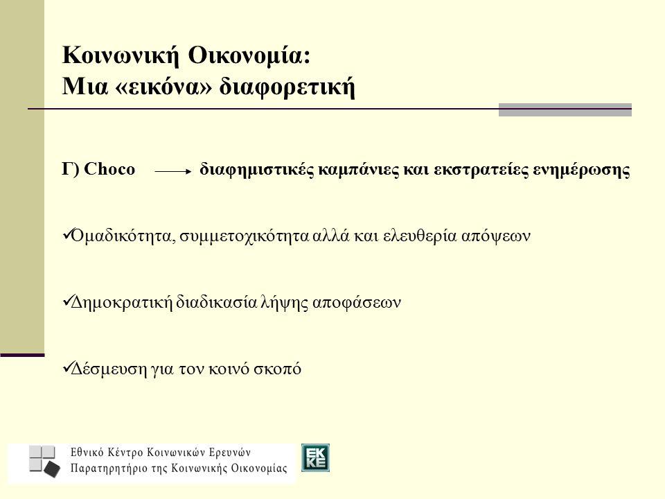 Κοινωνική Οικονομία: Μια «εικόνα» διαφορετική Γ) Choco διαφημιστικές καμπάνιες και εκστρατείες ενημέρωσης Ομαδικότητα, συμμετοχικότητα αλλά και ελευθερία απόψεων Δημοκρατική διαδικασία λήψης αποφάσεων Δέσμευση για τον κοινό σκοπό