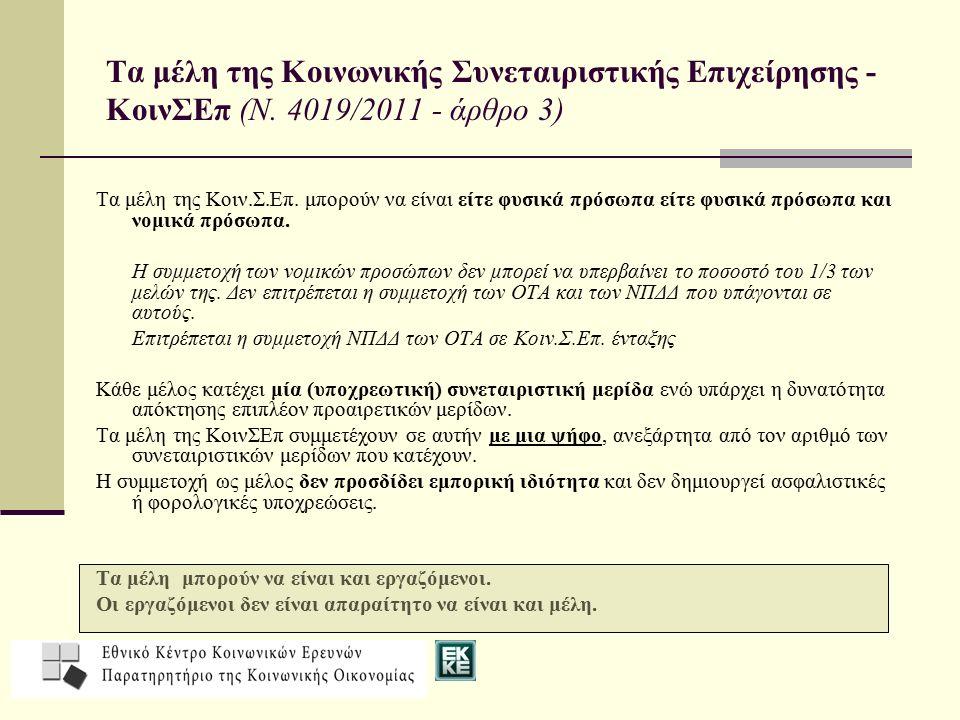 Τα μέλη της Κοινωνικής Συνεταιριστικής Επιχείρησης - ΚοινΣΕπ (Ν.