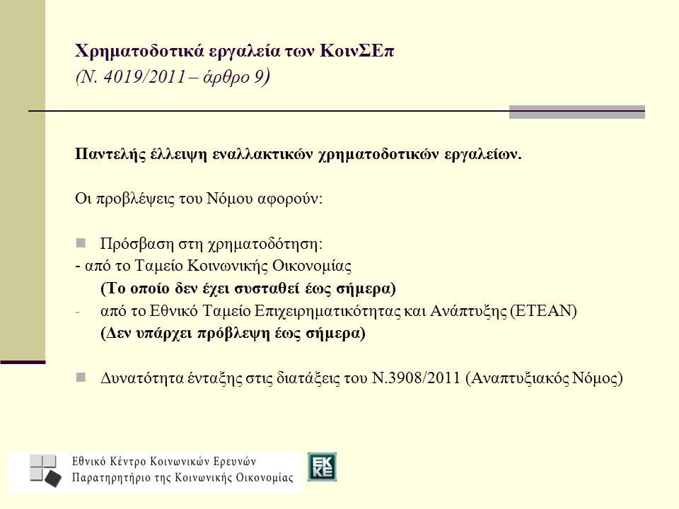 Χρηματοδοτικά εργαλεία των ΚοινΣΕπ (Ν. 4019/2011 – άρθρο 9 ) Παντελής έλλειψη εναλλακτικών χρηματοδοτικών εργαλείων. Οι προβλέψεις του Νόμου αφορούν: