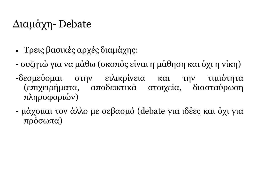 Διαμάχη- Debate Τρεις βασικές αρχές διαμάχης: - συζητώ για να μάθω (σκοπός είναι η μάθηση και όχι η νίκη) -δεσμεύομαι στην ειλικρίνεια και την τιμιότητα (επιχειρήματα, αποδεικτικά στοιχεία, διασταύρωση πληροφοριών) - μάχομαι τον άλλο με σεβασμό (debate για ιδέες και όχι για πρόσωπα)