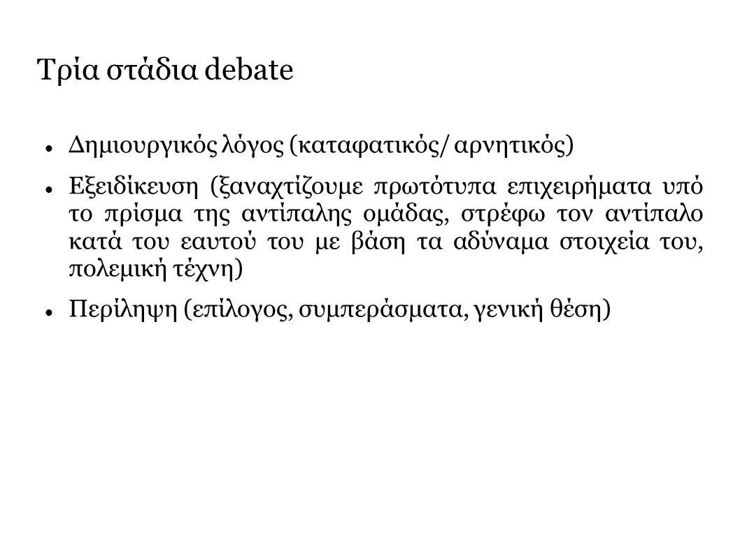 Τρία στάδια debate Δημιουργικός λόγος (καταφατικός/ αρνητικός) Εξειδίκευση (ξαναχτίζουμε πρωτότυπα επιχειρήματα υπό το πρίσμα της αντίπαλης ομάδας, στρέφω τον αντίπαλο κατά του εαυτού του με βάση τα αδύναμα στοιχεία του, πολεμική τέχνη) Περίληψη (επίλογος, συμπεράσματα, γενική θέση)