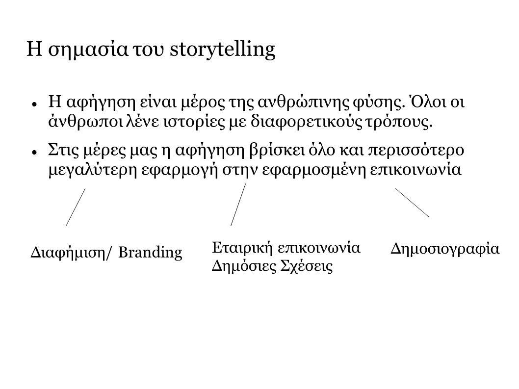 Η σημασία του storytelling Θυμόμαστε πιο εύκολα κάτι, αν είναι μέρος μιας ιστορίας Αντιλαμβανόμαστε πιο εύκολα με κάτι, αν είναι μέρος μιας ιστορίας Πειθόμαστε πιο εύκολα για κάτι, αν είναι μέρος μιας ιστορίας Ταυτιζόμαστε πιο εύκολα με κάτι, αν είναι μέρος μιας ιστορίας