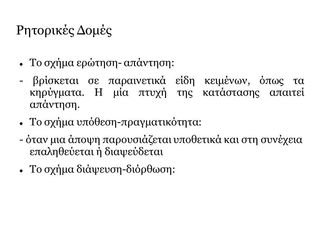 Ρητορικές Δομές Το σχήμα ερώτηση- απάντηση: - βρίσκεται σε παραινετικά είδη κειμένων, όπως τα κηρύγματα.