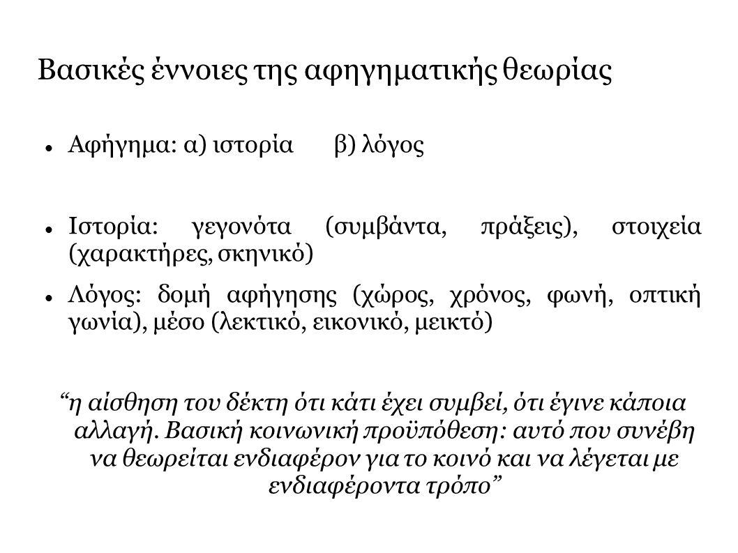 Βασικές έννοιες της αφηγηματικής θεωρίας Αφήγημα: α) ιστορία β) λόγος Ιστορία: γεγονότα (συμβάντα, πράξεις), στοιχεία (χαρακτήρες, σκηνικό) Λόγος: δομή αφήγησης (χώρος, χρόνος, φωνή, οπτική γωνία), μέσο (λεκτικό, εικονικό, μεικτό) η αίσθηση του δέκτη ότι κάτι έχει συμβεί, ότι έγινε κάποια αλλαγή.