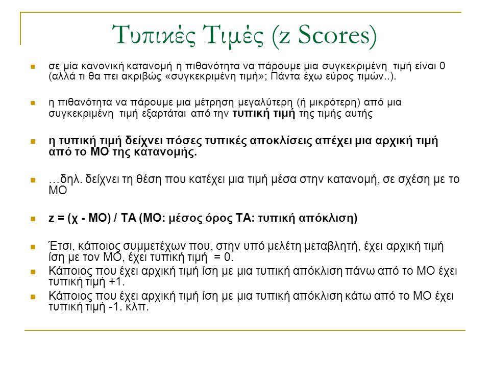 Τυπικές Τιμές (z Scores) σε μία κανονική κατανομή η πιθανότητα να πάρουμε μια συγκεκριμένη τιμή είναι 0 (αλλά τι θα πει ακριβώς «συγκεκριμένη τιμή»; Π