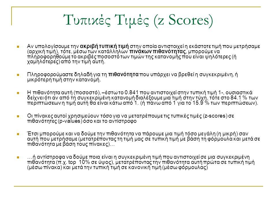 Τυπικές Τιμές (z Scores) Αν υπολογίσουμε την ακριβή τυπική τιμή στην οποία αντιστοιχεί η εκάστοτε τιμή που μετρήσαμε (αρχική τιμή), τότε, μέσω των κατ