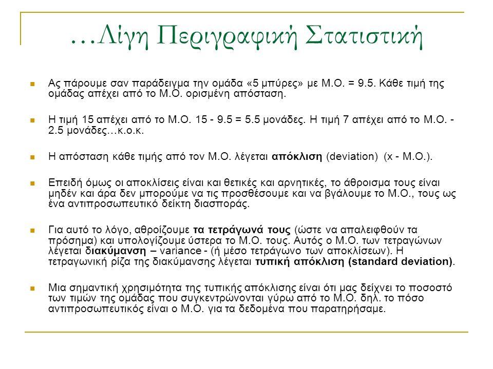 …Λίγη Περιγραφική Στατιστική Ας πάρουμε σαν παράδειγμα την ομάδα «5 μπύρες» με Μ.Ο. = 9.5. Κάθε τιμή της ομάδας απέχει από το Μ.Ο. ορισμένη απόσταση.