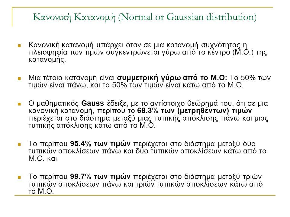 Κανονική Κατανομή (Normal or Gaussian distribution) Κανονική κατανομή υπάρχει όταν σε μια κατανομή συχνότητας η πλειοψηφία των τιμών συγκεντρώνεται γύ