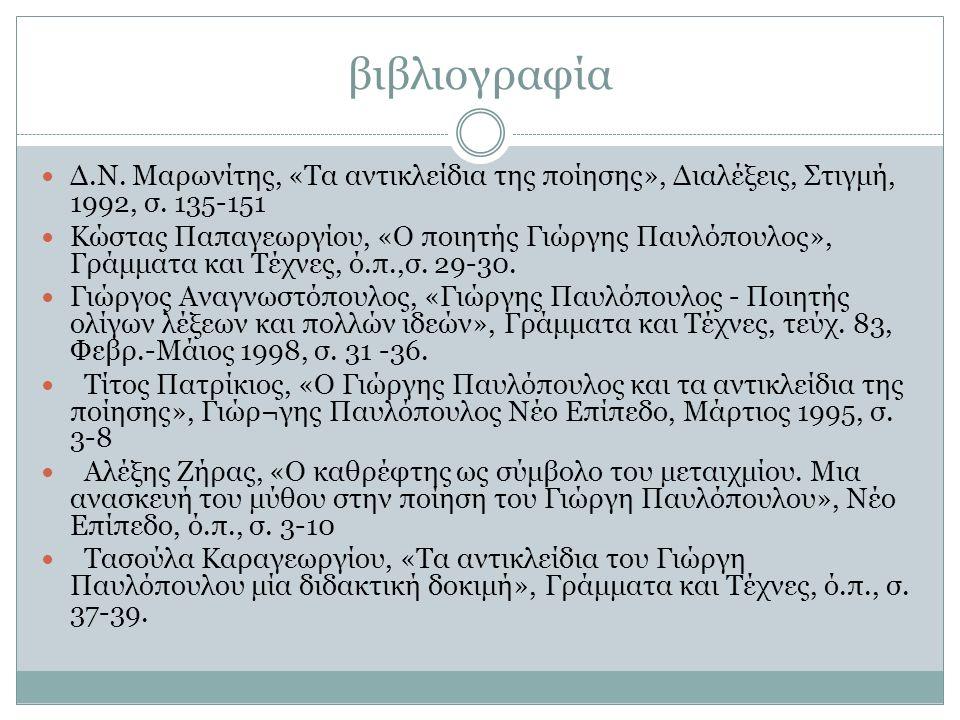 βιβλιογραφία Δ.Ν. Μαρωνίτης, «Τα αντικλείδια της ποίησης», Διαλέξεις, Στιγμή, 1992, σ. 135-151 Κώστας Παπαγεωργίου, «Ο ποιητής Γιώργης Παυλόπουλος», Γ