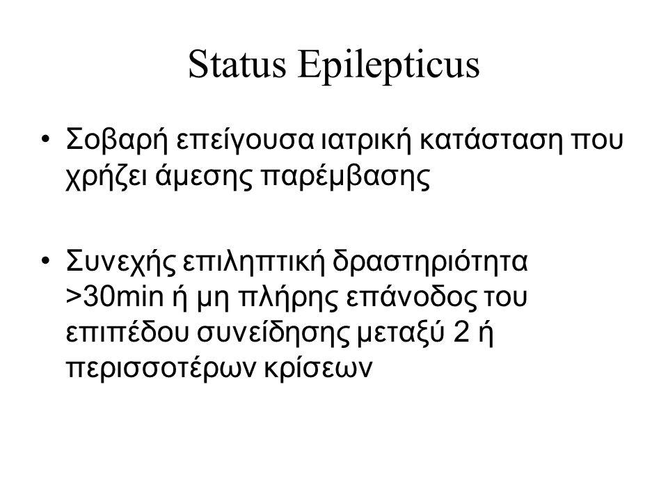 Status Epilepticus Σοβαρή επείγουσα ιατρική κατάσταση που χρήζει άμεσης παρέμβασης Συνεχής επιληπτική δραστηριότητα >30min ή μη πλήρης επάνοδος του επιπέδου συνείδησης μεταξύ 2 ή περισσοτέρων κρίσεων