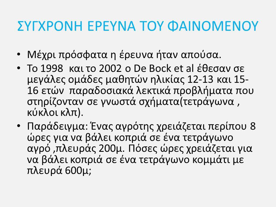 ΣΥΓΧΡΟΝΗ ΕΡΕΥΝΑ ΤΟΥ ΦΑΙΝΟΜΕΝΟΥ Μέχρι πρόσφατα η έρευνα ήταν απούσα. Το 1998 και το 2002 ο De Bock et al έθεσαν σε μεγάλες ομάδες μαθητών ηλικίας 12-13