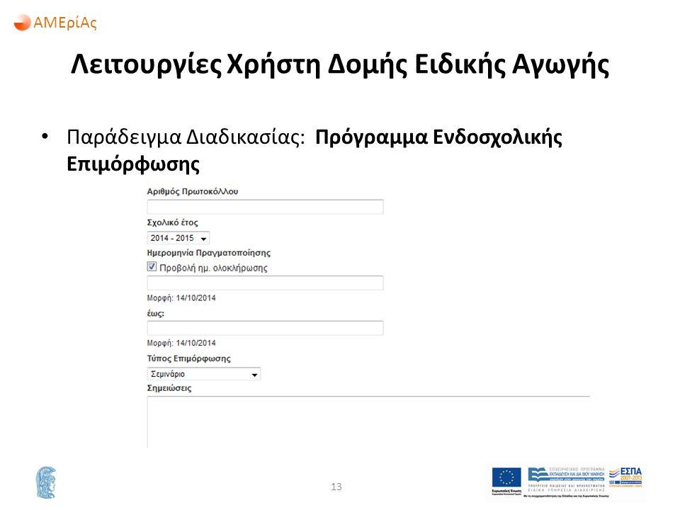 ΑΜΕρίΑς Λειτουργίες Χρήστη Δομής Ειδικής Αγωγής Παράδειγμα Διαδικασίας: Πρόγραμμα Ενδοσχολικής Επιμόρφωσης 13