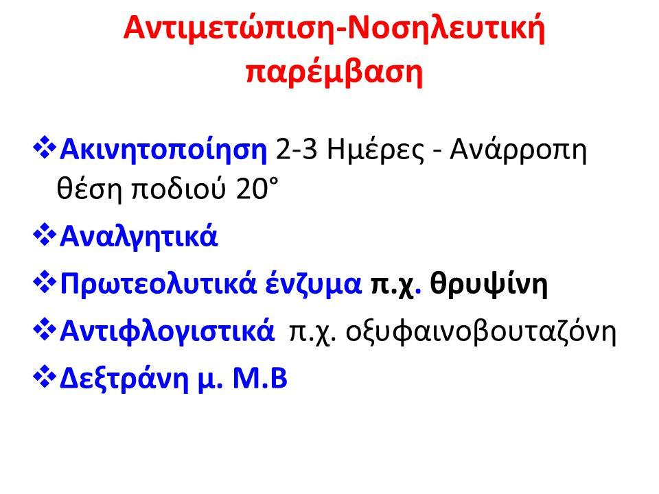 Αντιμετώπιση-Νοσηλευτική παρέμβαση  Ακινητοποίηση 2-3 Ημέρες - Ανάρροπη θέση ποδιού 20°  Αναλγητικά  Πρωτεολυτικά ένζυμα π.χ. θρυψίνη  Αντιφλογιστ