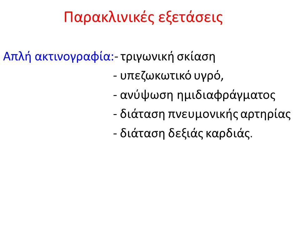 Παρακλινικές εξετάσεις Απλή ακτινογραφία:- τριγωνική σκίαση - υπεζωκωτικό υγρό, - ανύψωση ημιδιαφράγματος - διάταση πνευμονικής αρτηρίας - διάταση δεξ