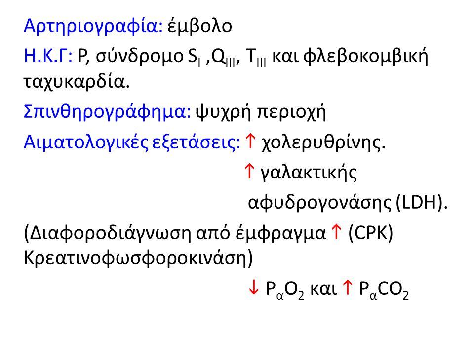 Αρτηριογραφία: έμβολο Η.Κ.Γ: Ρ, σύνδρομο S Ι,Q III, Τ III και φλεβοκομβική ταχυκαρδία. Σπινθηρογράφημα: ψυχρή περιοχή Αιματολογικές εξετάσεις:  χολερ