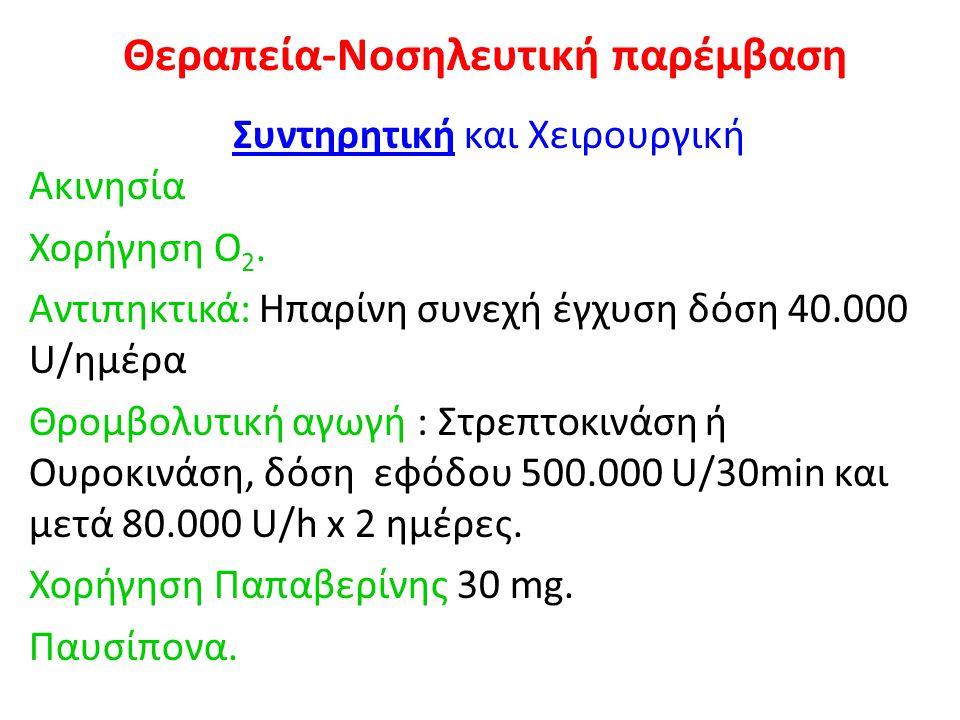 Θεραπεία-Νοσηλευτική παρέμβαση Συντηρητική και Χειρουργική Ακινησία Χορήγηση Ο 2. Αντιπηκτικά: Ηπαρίνη συνεχή έγχυση δόση 40.000 U/ημέρα Θρομβολυτική