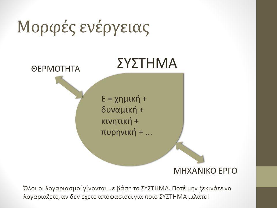 Μορφές ενέργειας ΣΥΣΤΗΜΑ Ε = χημική + δυναμική + κινητική + πυρηνική +...