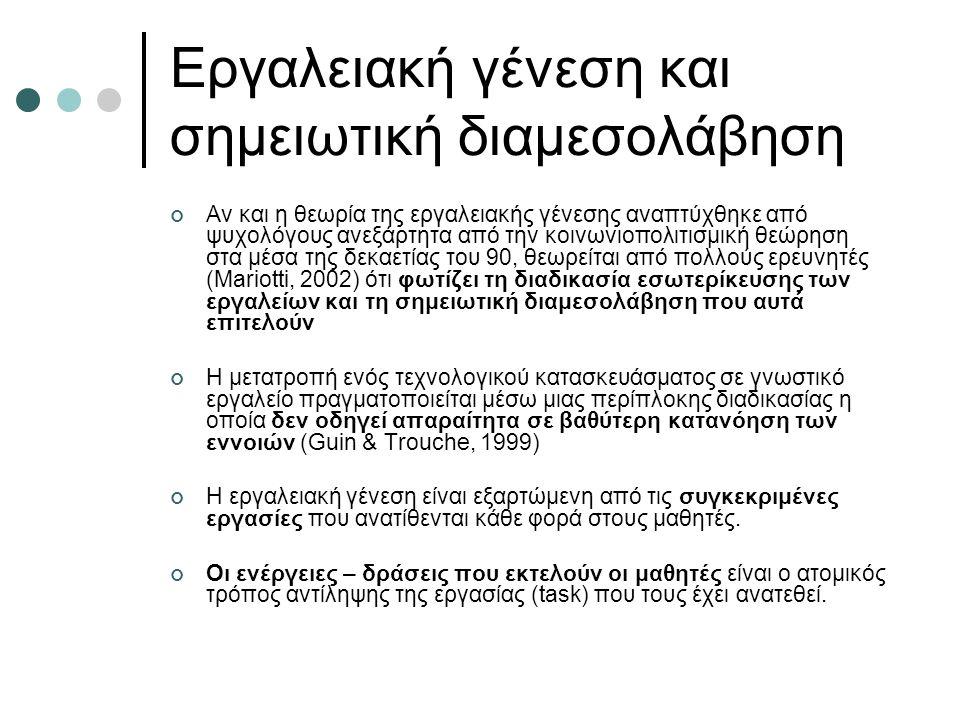 Εργαλειακή γένεση και σημειωτική διαμεσολάβηση Αν και η θεωρία της εργαλειακής γένεσης αναπτύχθηκε από ψυχολόγους ανεξάρτητα από την κοινωνιοπολιτισμική θεώρηση στα μέσα της δεκαετίας του 90, θεωρείται από πολλούς ερευνητές (Mariotti, 2002) ότι φωτίζει τη διαδικασία εσωτερίκευσης των εργαλείων και τη σημειωτική διαμεσολάβηση που αυτά επιτελούν Η μετατροπή ενός τεχνολογικού κατασκευάσματος σε γνωστικό εργαλείο πραγματοποιείται μέσω μιας περίπλοκης διαδικασίας η οποία δεν οδηγεί απαραίτητα σε βαθύτερη κατανόηση των εννοιών (Guin & Trouche, 1999) Η εργαλειακή γένεση είναι εξαρτώμενη από τις συγκεκριμένες εργασίες που ανατίθενται κάθε φορά στους μαθητές.