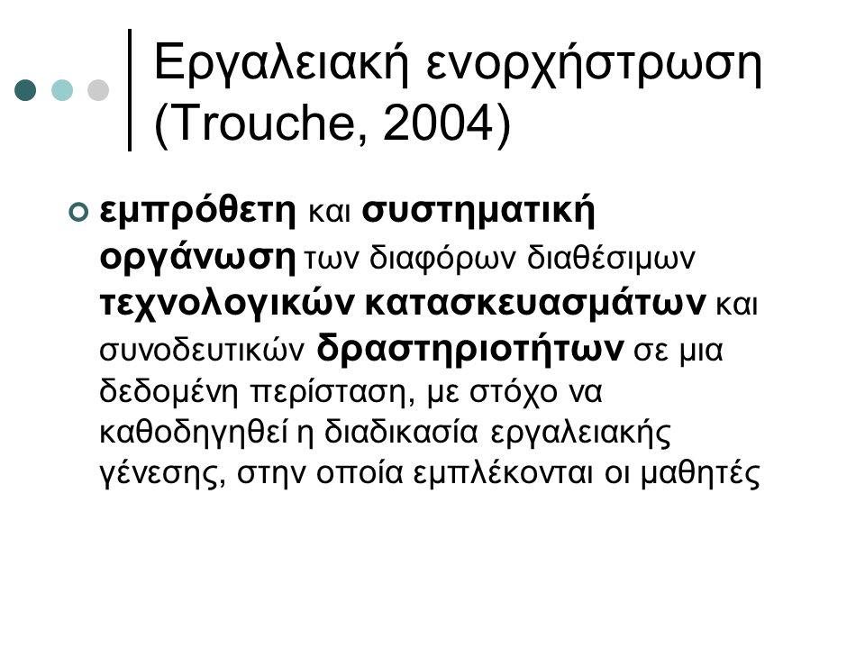 Εργαλειακή ενορχήστρωση (Trouche, 2004) εμπρόθετη και συστηματική οργάνωση των διαφόρων διαθέσιμων τεχνολογικών κατασκευασμάτων και συνοδευτικών δραστηριοτήτων σε μια δεδομένη περίσταση, με στόχο να καθοδηγηθεί η διαδικασία εργαλειακής γένεσης, στην οποία εμπλέκονται οι μαθητές