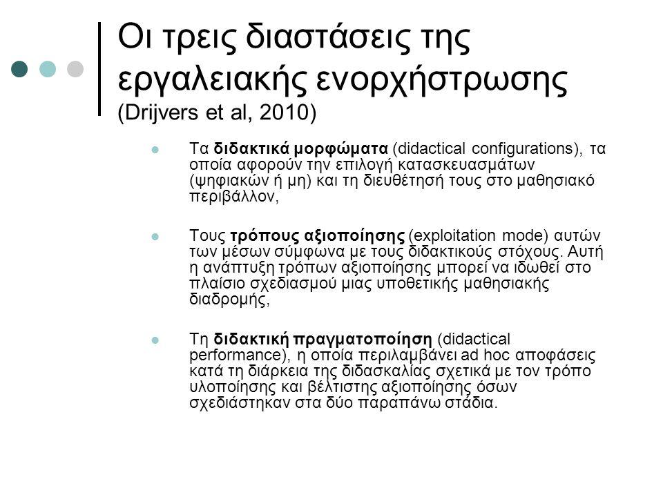 Οι τρεις διαστάσεις της εργαλειακής ενορχήστρωσης (Drijvers et al, 2010) Τα διδακτικά μορφώματα (didactical configurations), τα οποία αφορούν την επιλογή κατασκευασμάτων (ψηφιακών ή μη) και τη διευθέτησή τους στο μαθησιακό περιβάλλον, Τους τρόπους αξιοποίησης (exploitation mode) αυτών των μέσων σύμφωνα με τους διδακτικούς στόχους.