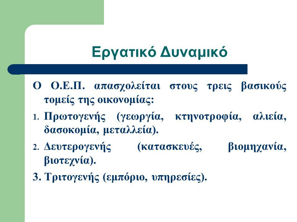 Εργατικό Δυναμικό Ο Ο.Ε.Π. απασχολείται στους τρεις βασικούς τομείς της οικονομίας: 1.