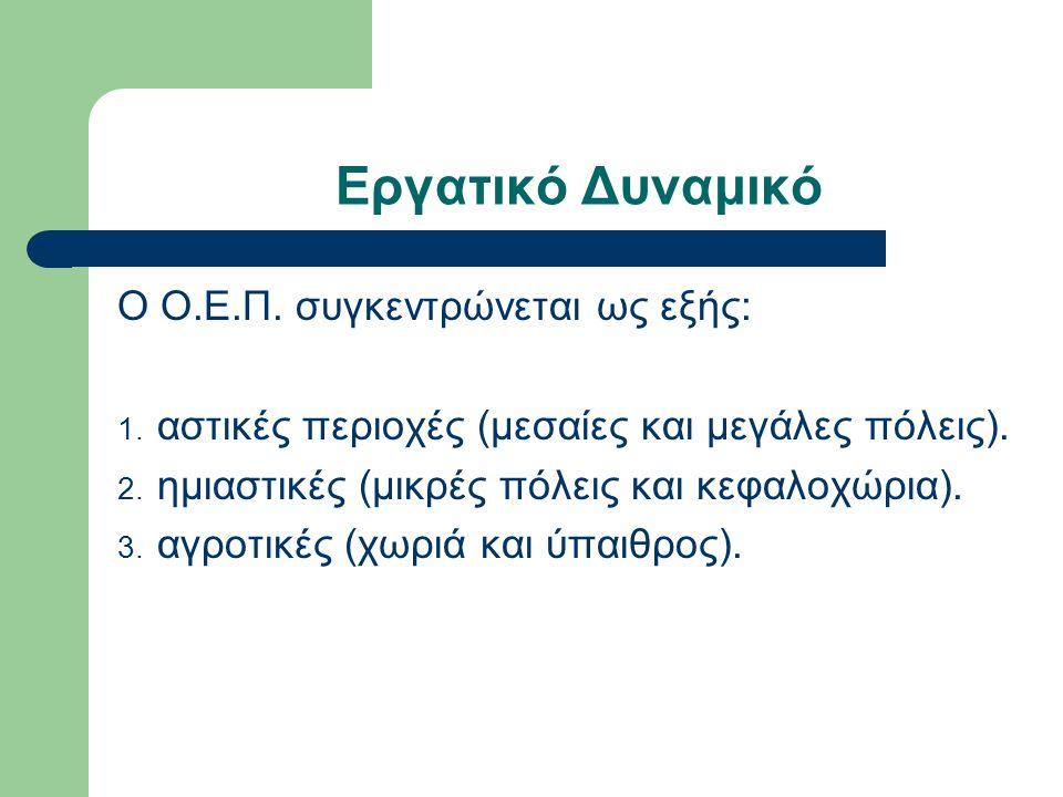 Εργατικό Δυναμικό Ο Ο.Ε.Π. συγκεντρώνεται ως εξής: 1.
