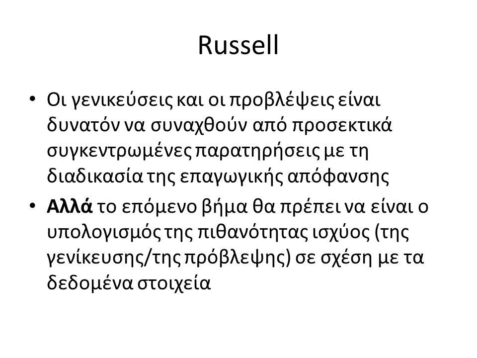 Russell Οι γενικεύσεις και οι προβλέψεις είναι δυνατόν να συναχθούν από προσεκτικά συγκεντρωμένες παρατηρήσεις με τη διαδικασία της επαγωγικής απόφανσ