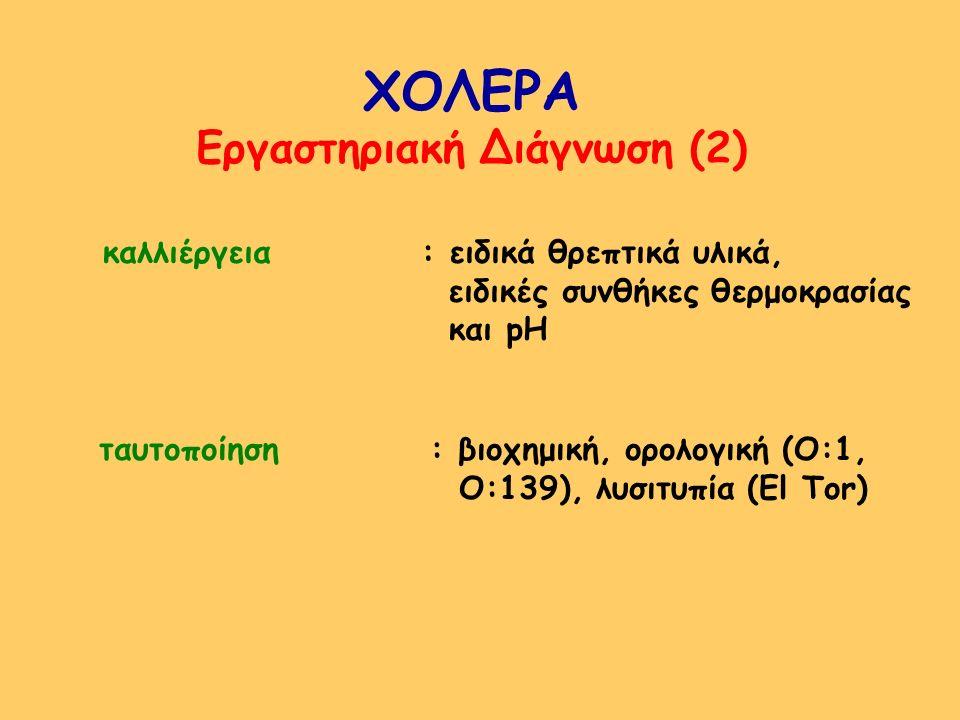 ΧΟΛΕΡΑ Εργαστηριακή Διάγνωση (2) καλλιέργεια : ειδικά θρεπτικά υλικά, ειδικές συνθήκες θερμοκρασίας και pH ταυτοποίηση : βιοχημική, ορολογική (Ο:1, Ο: