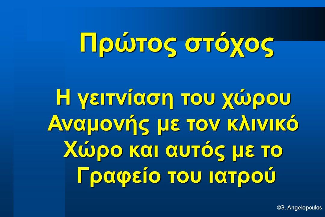  G. Angelopoulos Πρώτος στόχος Η γειτνίαση του χώρου Αναμονής με τον κλινικό Χώρο και αυτός με το Γραφείο του ιατρού